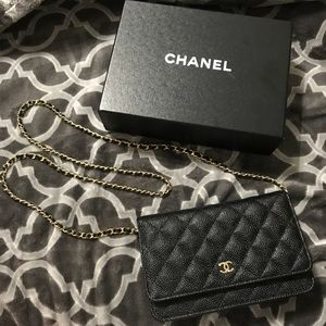 Chanel WOC Black Caviar Leather with Gold Hardware